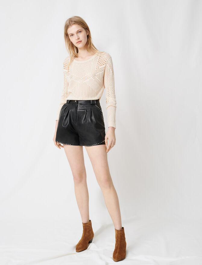 Leather studded shorts - Skirts & Shorts - MAJE