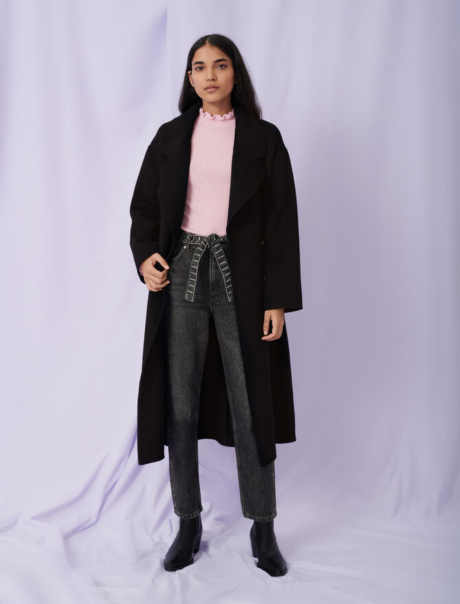 Belted double face coat - Coats & Jackets - MAJE