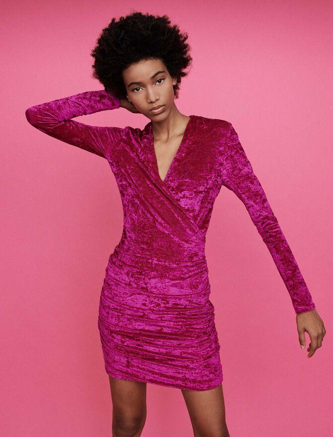 Crushed velvet draped dress - Dresses - MAJE