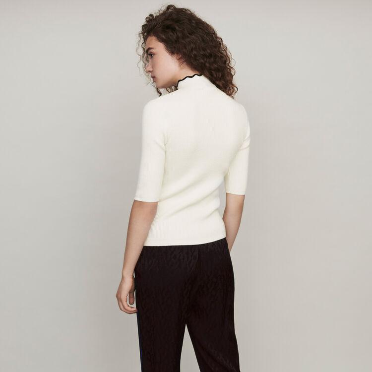 Flowing satin jacquard pants : Pants & Jeans color Black