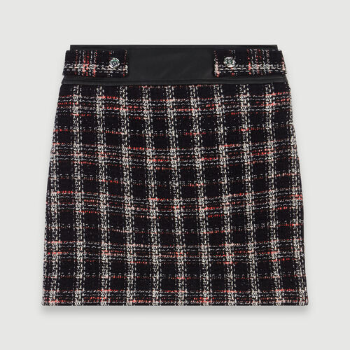 Tweed-style contrast pencil skirt : Skirts & Shorts color Black