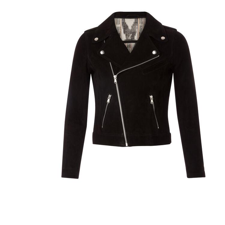 Biker-style suede blouson jacket : null color