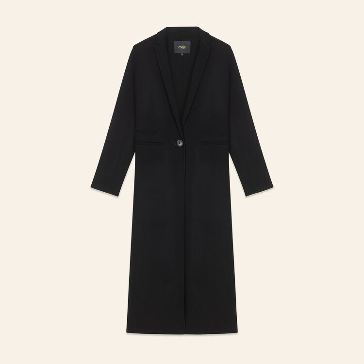 Long double-sided wool coat : Coats & Jackets color Black 210