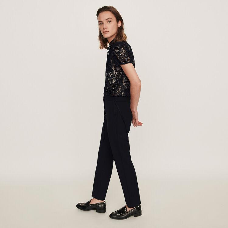 Guipure and crepe jumpsuit : Jumpsuits & Rompers color Black