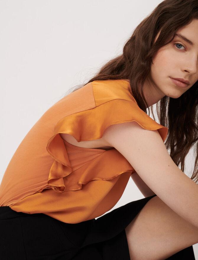 Sleeveless T-shirt with ruffles - T-Shirts - MAJE