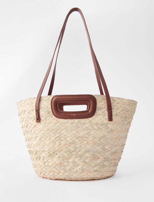 Basket bag in raffia and leather : Large Bags color Caramel