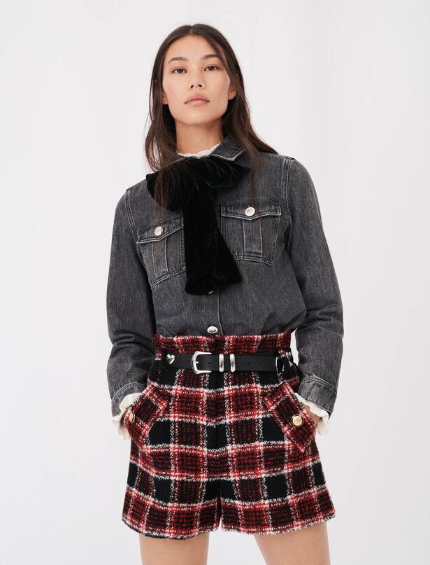 마쥬 MAJE Denim shirt with velvet bow,Anthracite