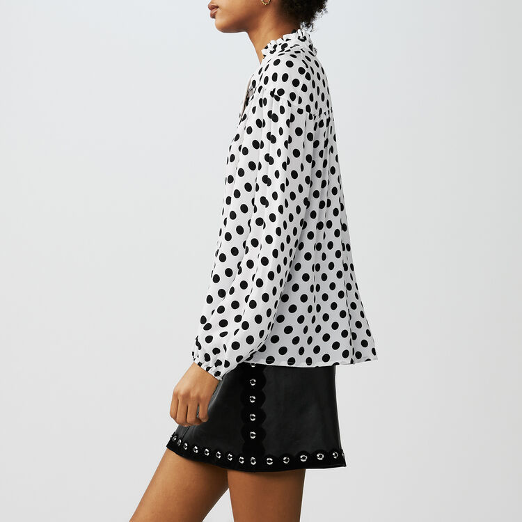 Printed polka dot top : Tops & T-Shirts color Two-Tone