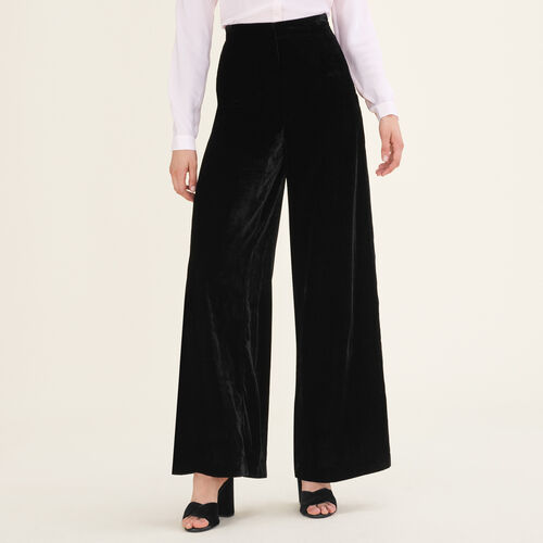 Wide-leg velvet trousers : Pants & Jeans color Black 210
