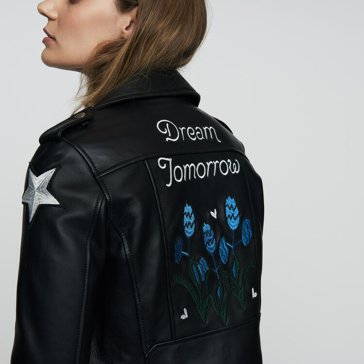 Embroidered leather jacket : Coats & Jackets color BLACK