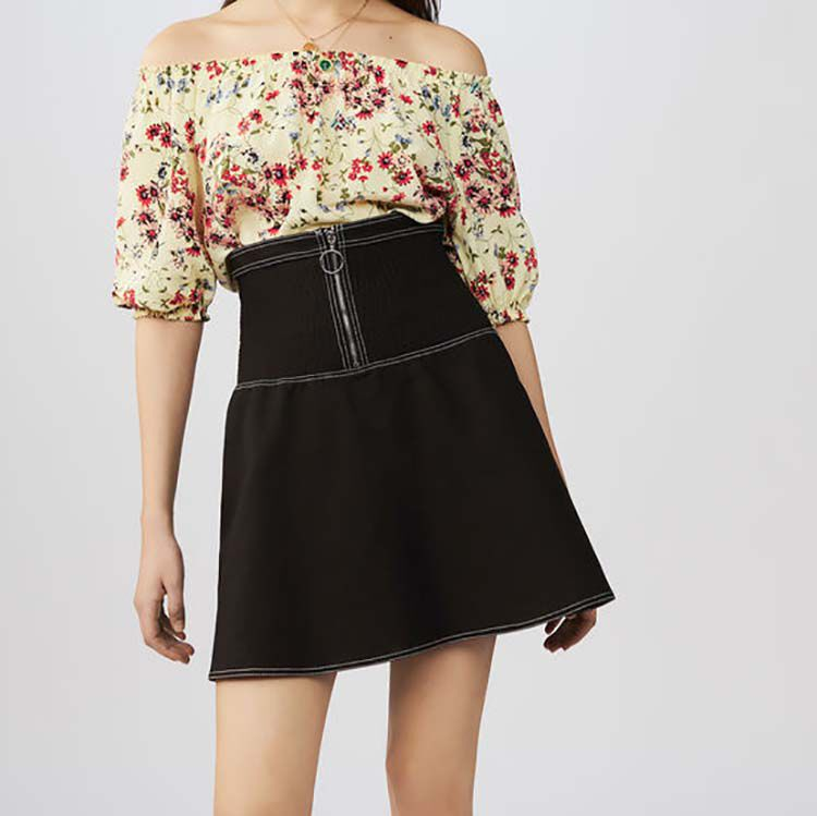 Short smocked skirt in stretch cotton : Skirts & Shorts color Black 210