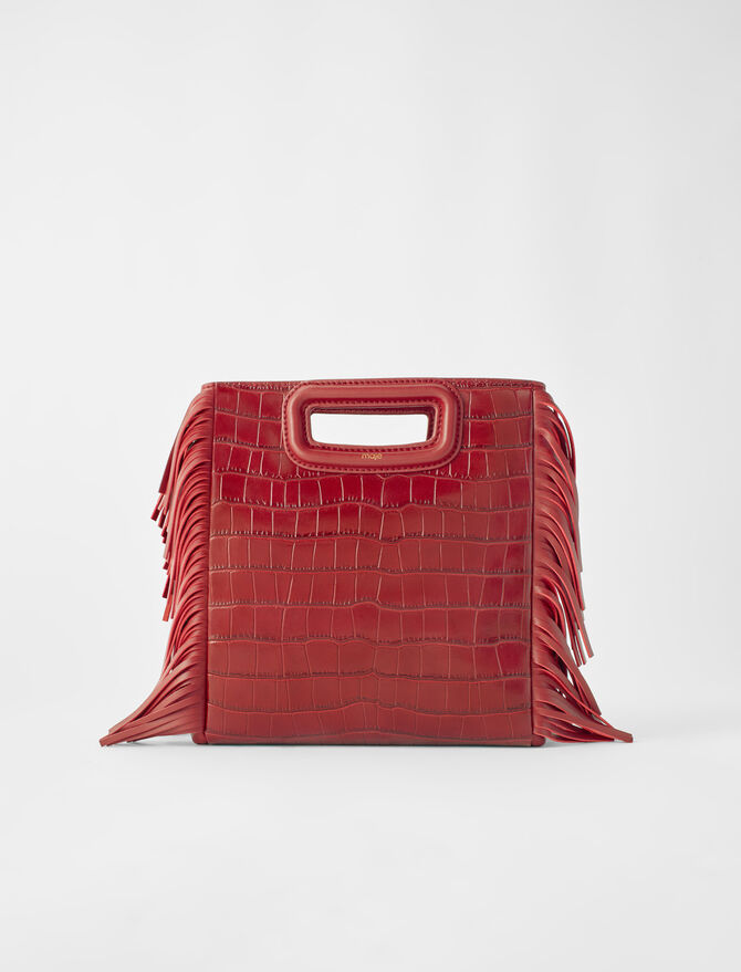 Crocodile-effect embossed leather M bag - Medium Bags - MAJE