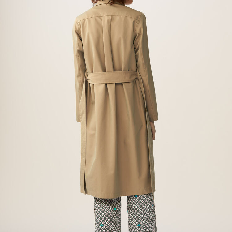 Trench coat with pleated detail : Coats & Jackets color Beige