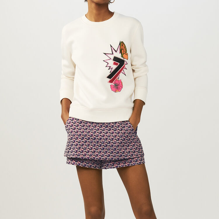 Quilted print sweatshirt : Tops & T-Shirts color ECRU