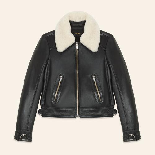 Sheepskin collar aviator jacket - Coats & Jackets - MAJE
