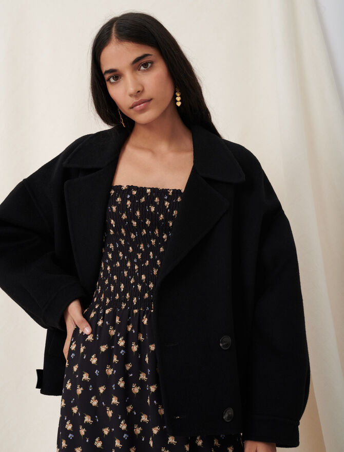 Double face and faux leather jacket - Coats & Jackets - MAJE