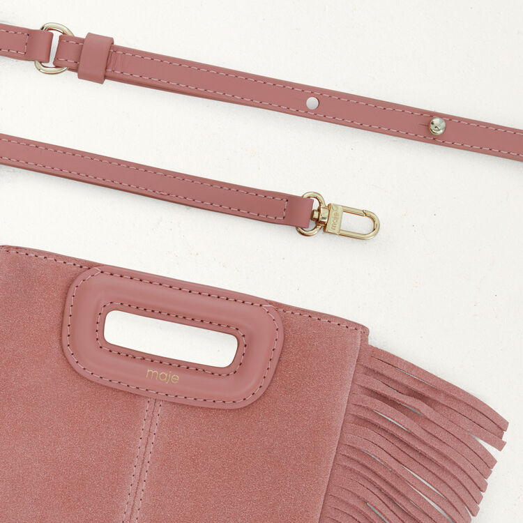 Fringed suede M minibag : M Mini color Pink