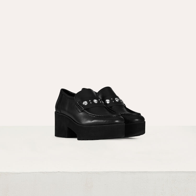 Platform loafers in leather and studs : Shoes color Black 210