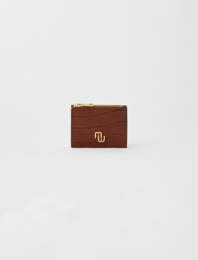 Embossed leather purse -  - MAJE
