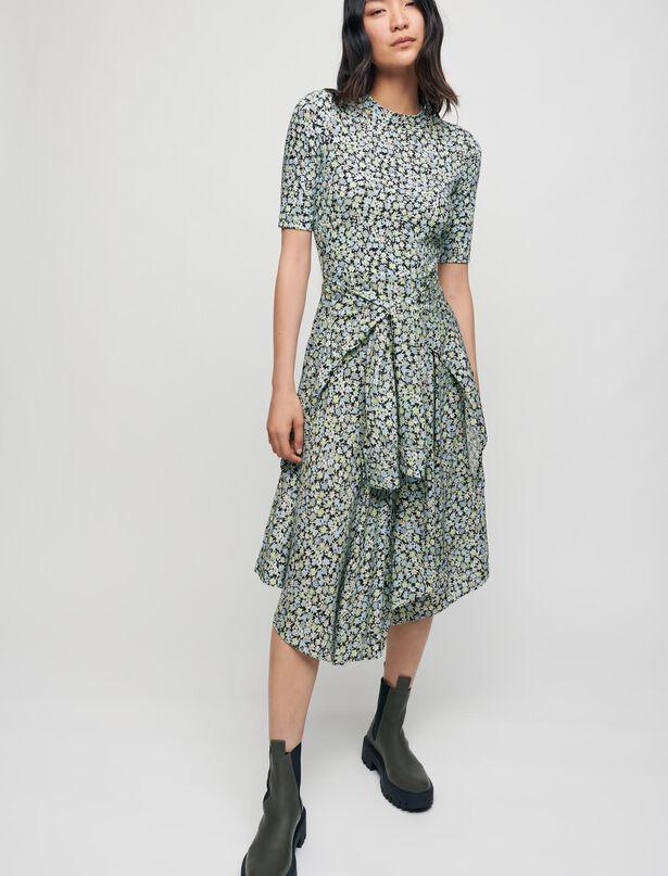 Maje Trompe l'oeil dress with scarf skirt