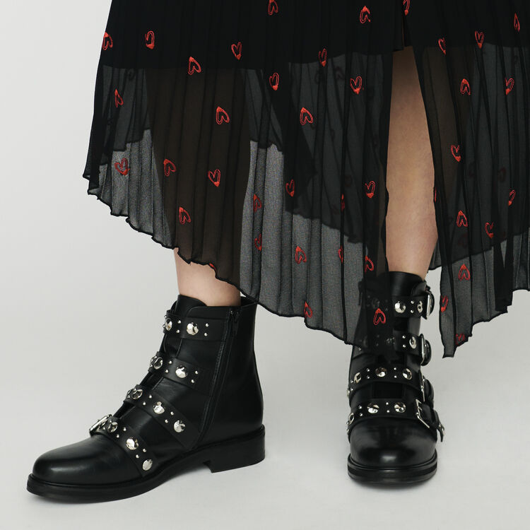 Multi-straps leather booties : Shoes color Black 210