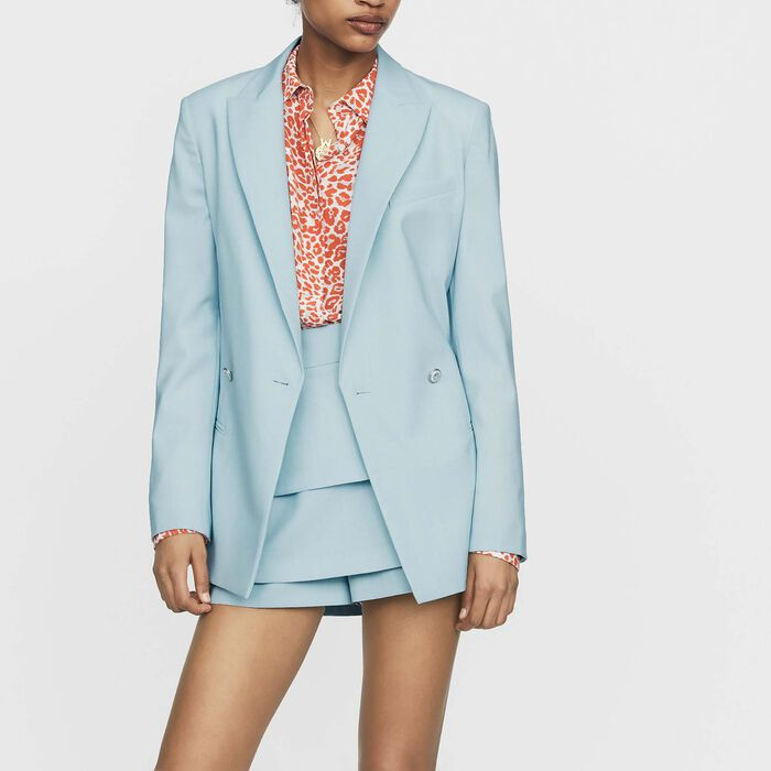 Long wool-blend blazer : Coats & Jackets color Blue Sky