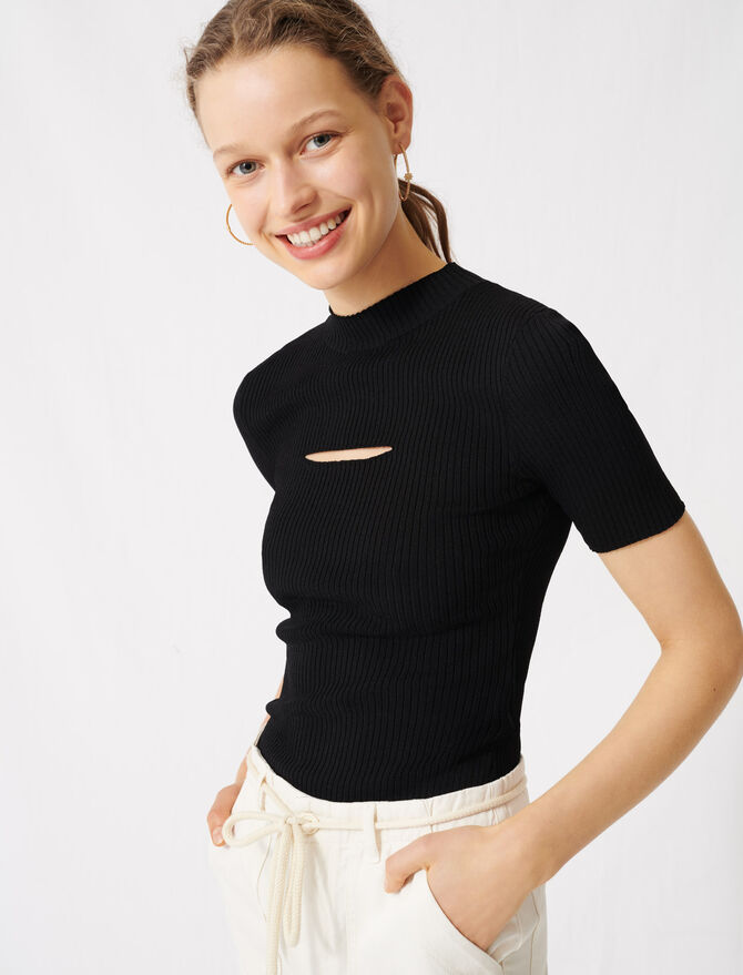 Black jumper with open neckline - Sweaters - MAJE