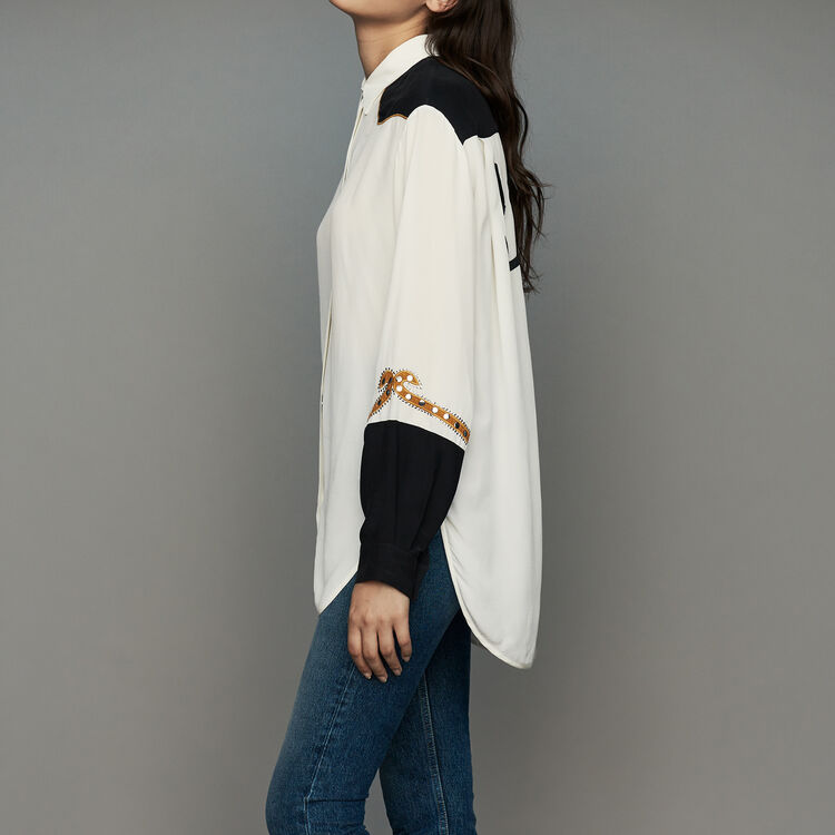 Long western blouse : Tops & T-Shirts color ECRU