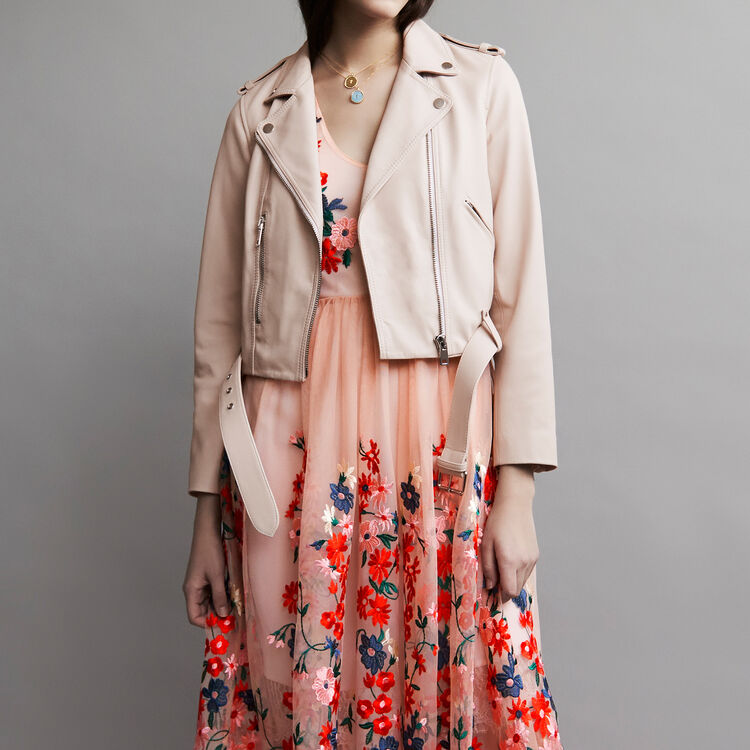 Leather jacket with belt : Coats & Jackets color Nude
