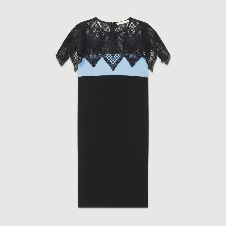 Three-tone dress with guipure : Dresses color BLUE/SKY BLUE