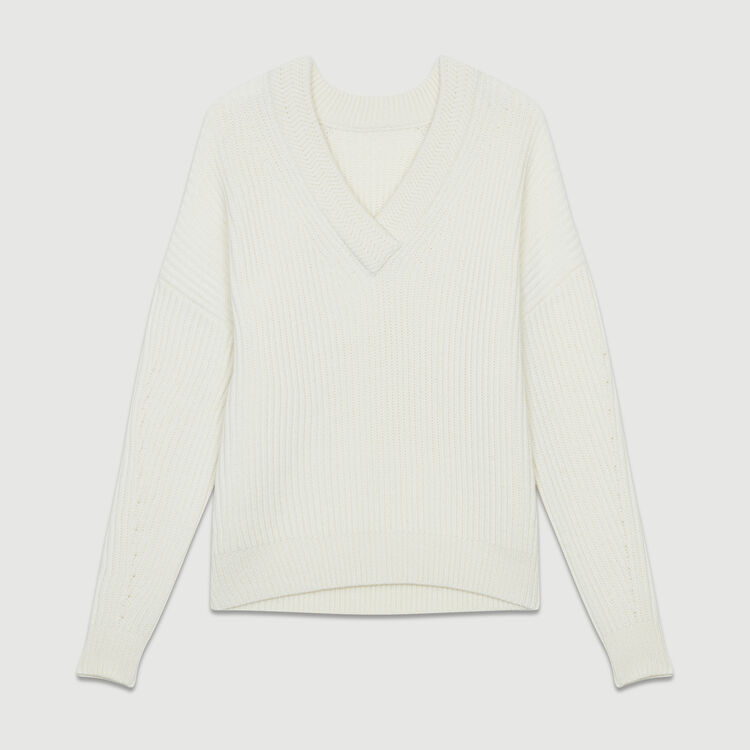 Long-sleeved, V-neck sweater : Sweaters color Ecru