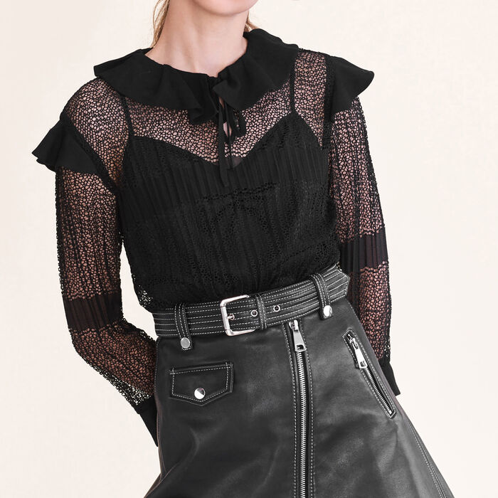Openwork knit top : Tops & Shirts color Black 210