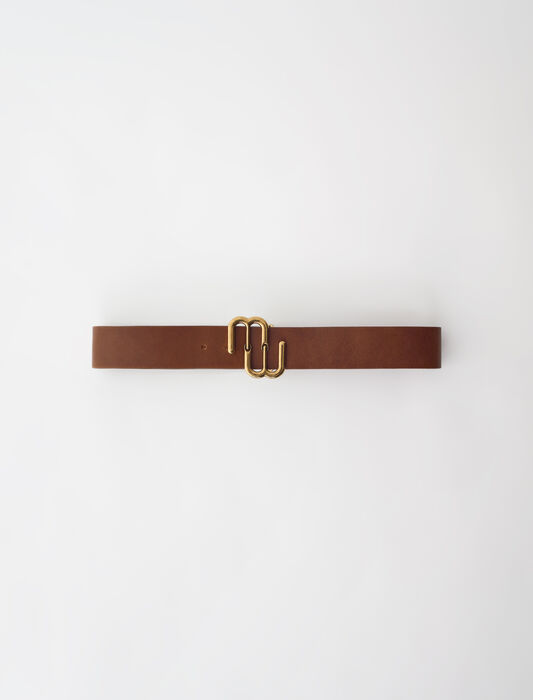 Leather double M belt : Belts color Caramel