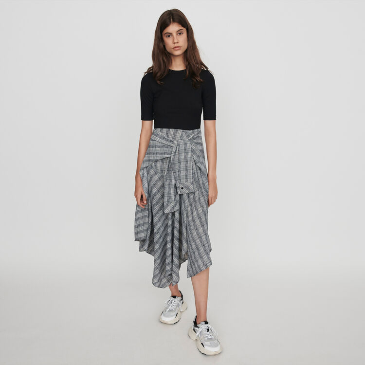 Trompe-l'oeil dress with scarf skirt : Dresses color Grey
