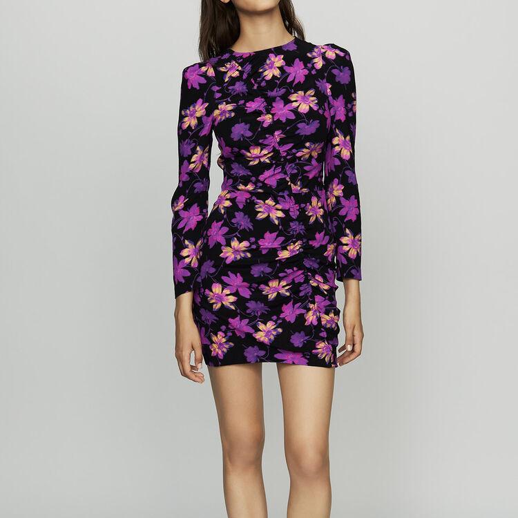 Draped dress in floral print : Dresses color Print