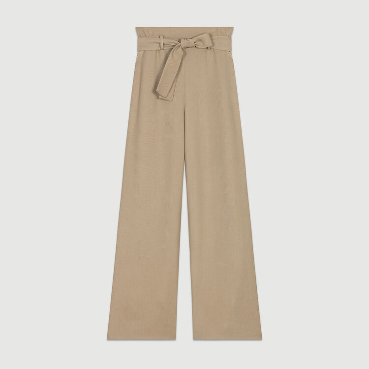 Wide-leg pants with removable belt : Pants & Jeans color Beige