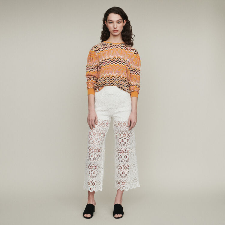 Cropped pants in daisy print : Pants & Jeans color White