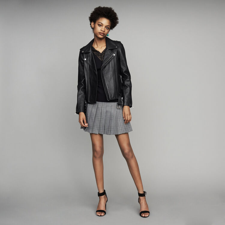 Belted biker jacket in leather : New Collection color Black 210