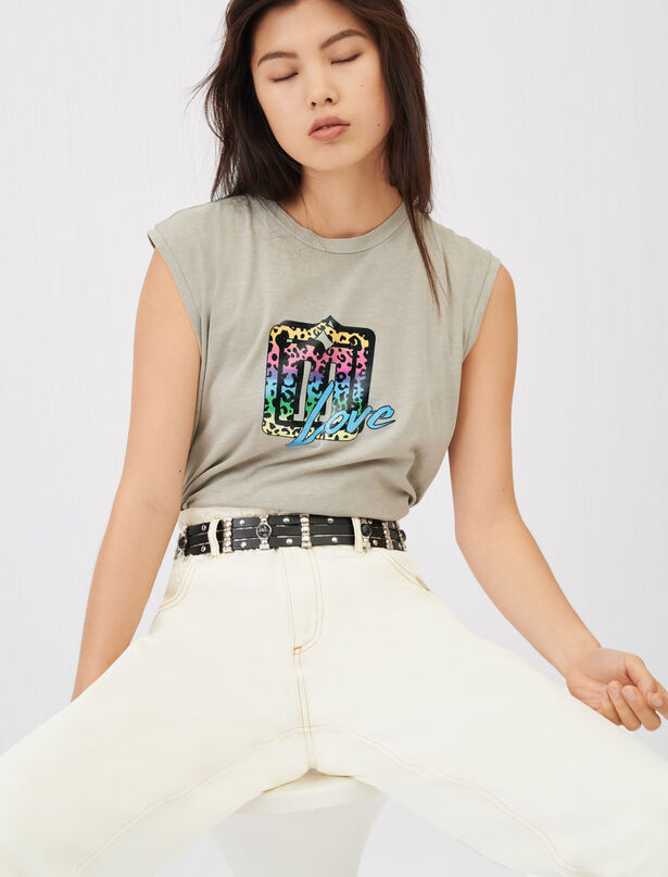 21SS 마쥬 실크스크틴 프린트 민소매 티셔츠 MAJE Silkscreen printed sleeveless T-shirt,Khaki