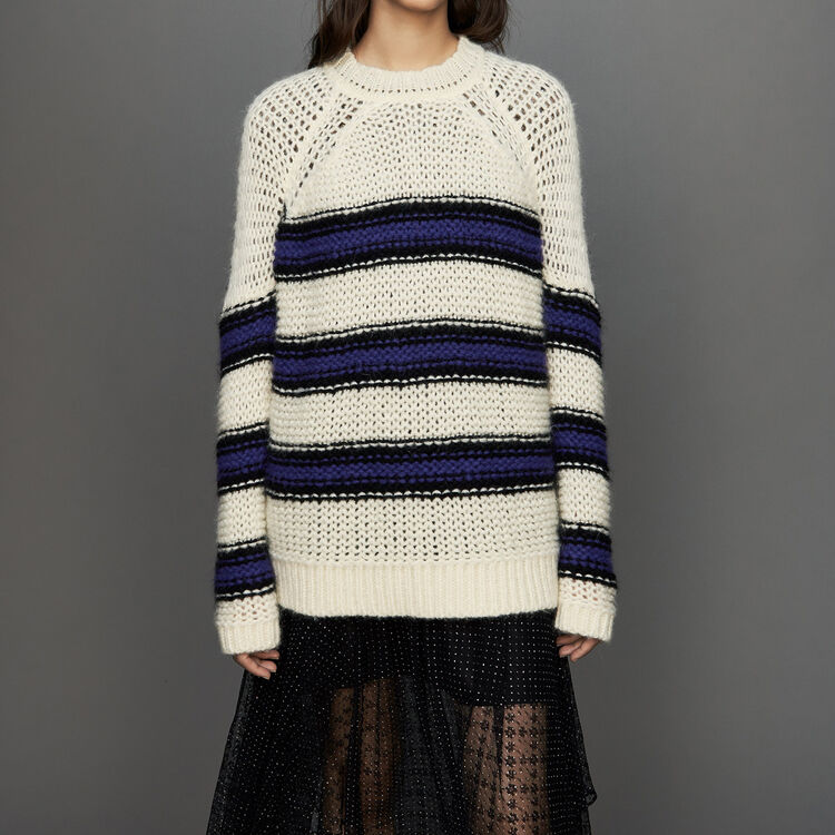 Oversize sweater in tricolor knit : Sweaters color Purple