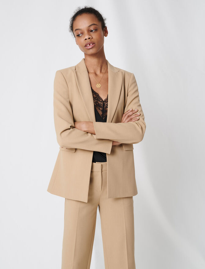 Nude fitted tailored jacket - Coats & Jackets - MAJE