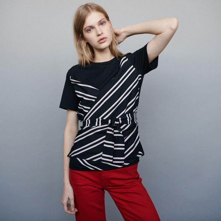Top with double-material insert : Tops & T-Shirts color Black 210