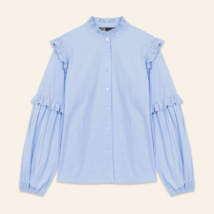 Poplin shirt with frills : Tops & T-Shirts color Blue