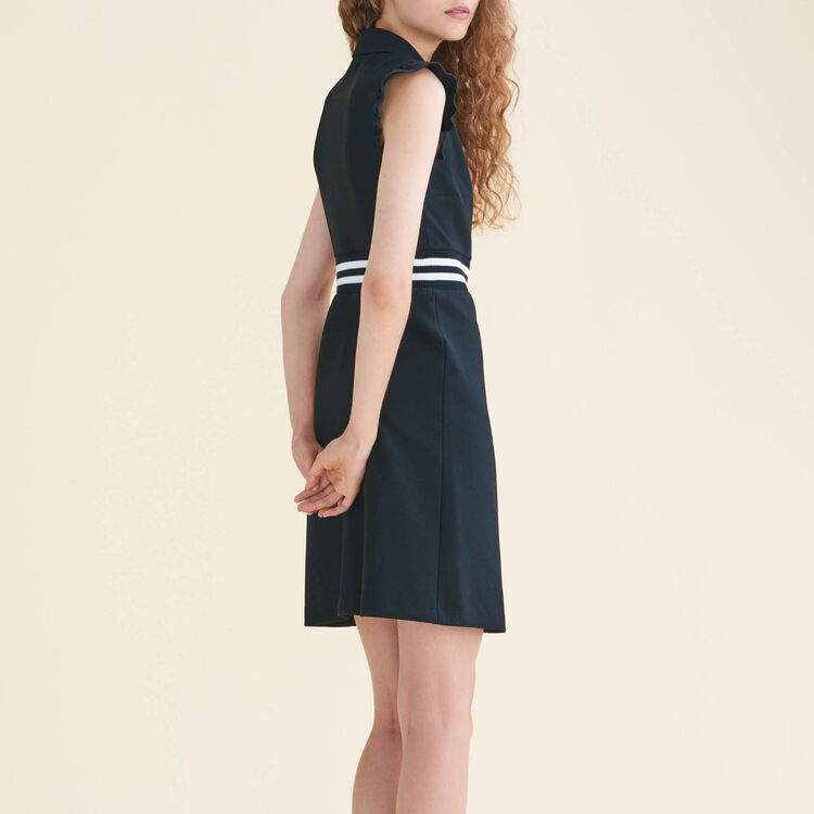 A-line crêpe dress with frills : null color