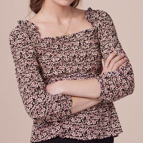 Long-sleeved printed top - Tops & Shirts - MAJE
