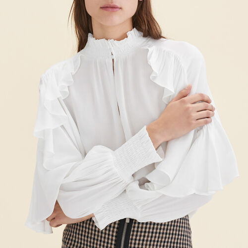 Floaty frilled blouse  : Tops & T-Shirts color Ecru
