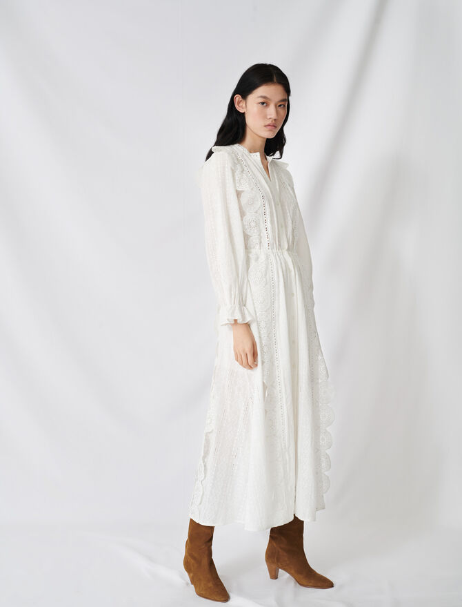 Cotton dress with broderie anglaise - Summer Sale - MAJE