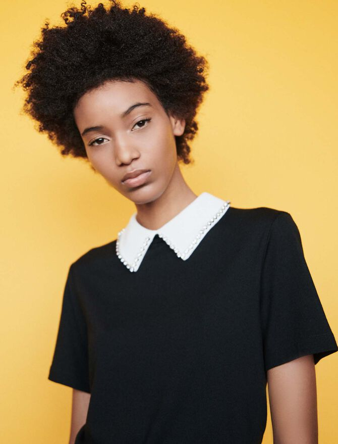 T-shirt with removable collar - T-Shirts - MAJE