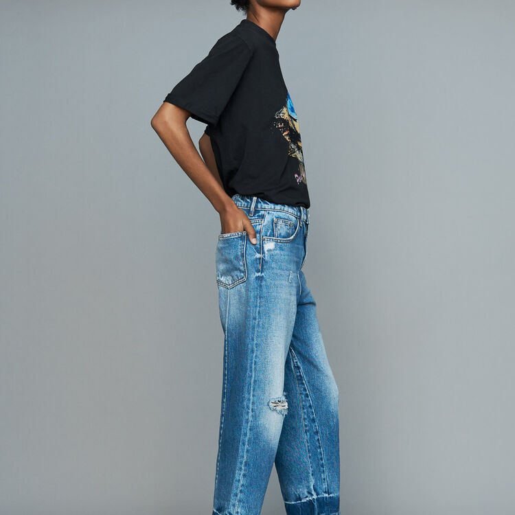 Wide jeans with distressed detailing : Pants & Jeans color Blue