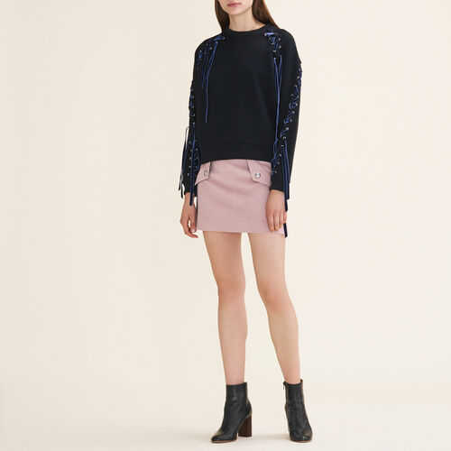 Fleecy sweatshirt with lacing - Sweaters - MAJE